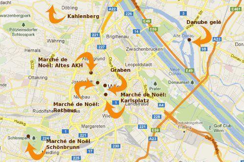 carte de Vienne, marché de Noel