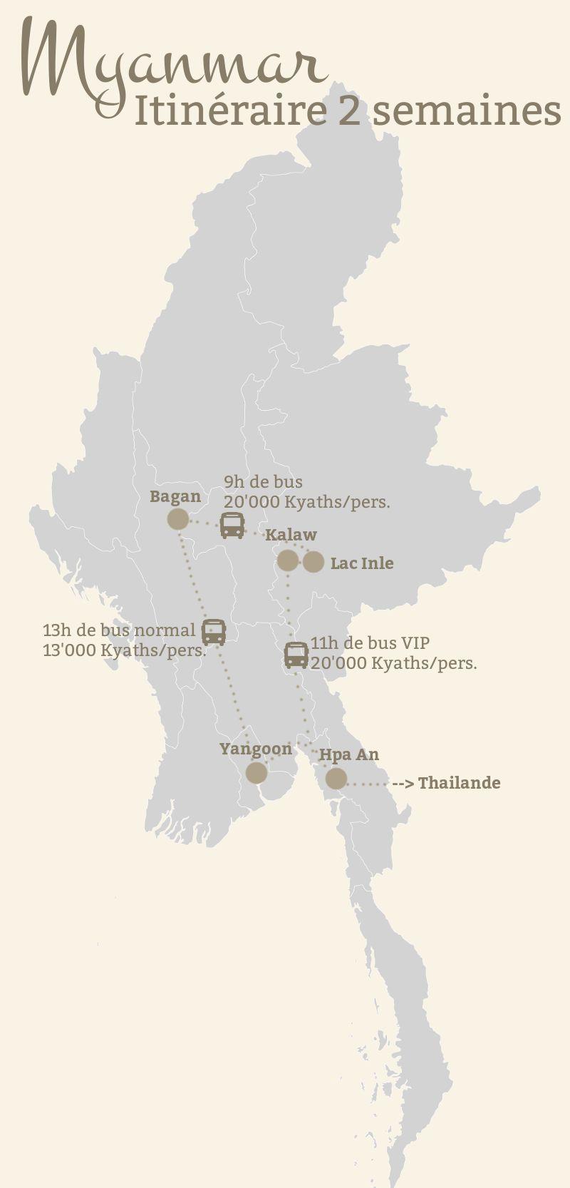 itinéraire voyage birmanie, carte