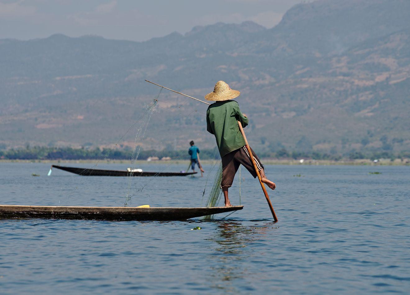 pêcheur du lac inle, birmanie
