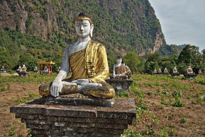 les bouddhas du jardin de Lumbini