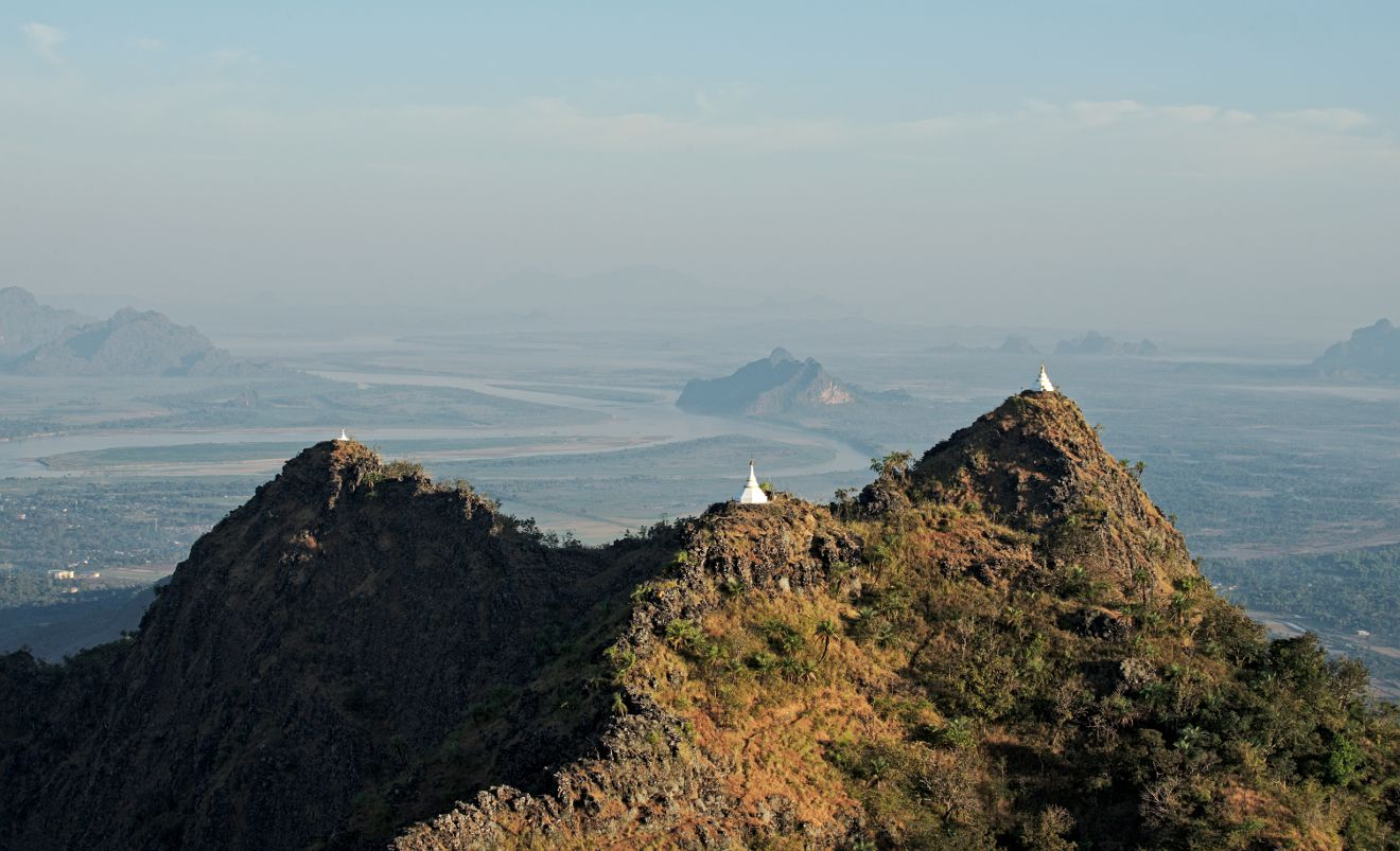the view on Hpa An from Mount Zwegabin