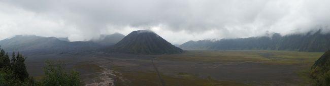 mauvais temps sur le volcan bromo