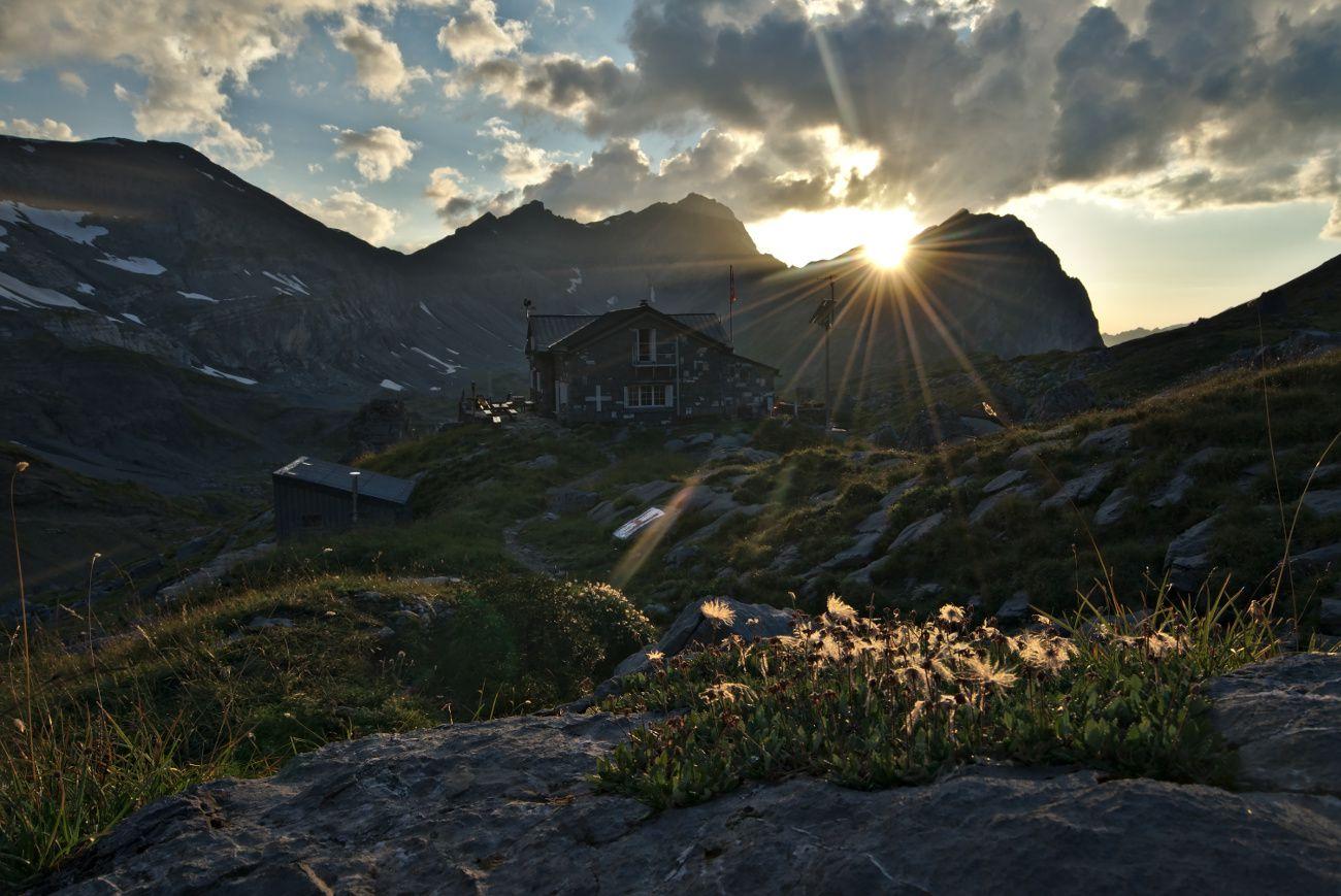 coucher de soleil à la cabane de Susanfe