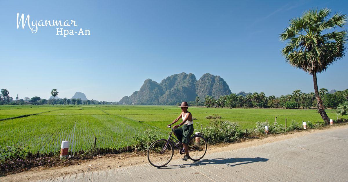 paysan sur son vélo, Hpa An