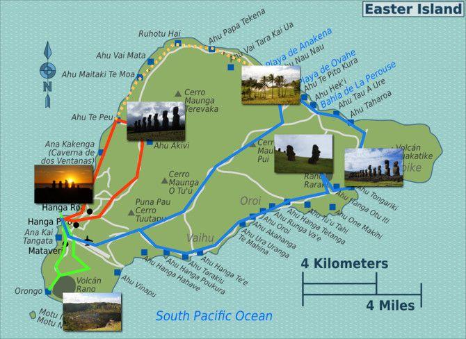 ile de paques carte Rapa Nui: the mysterious Easter Island and its Moais