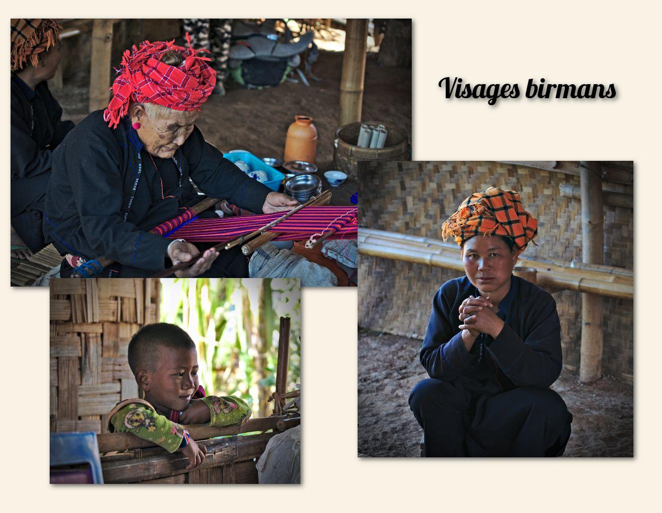 portraits de villageois birmans