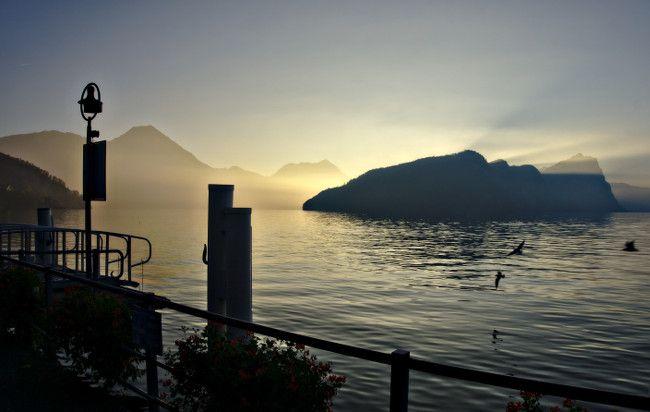 coucher de soleil, lac des quatre cantons