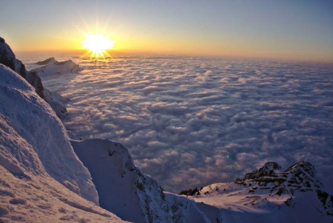 pilatus, lucerne: coucher de soleil