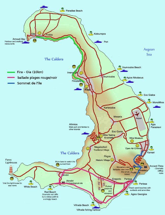 map Santorin