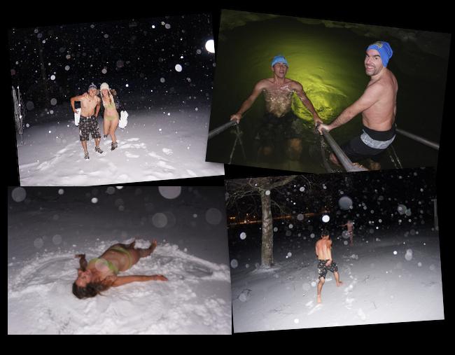 nager dans l'eau gelée