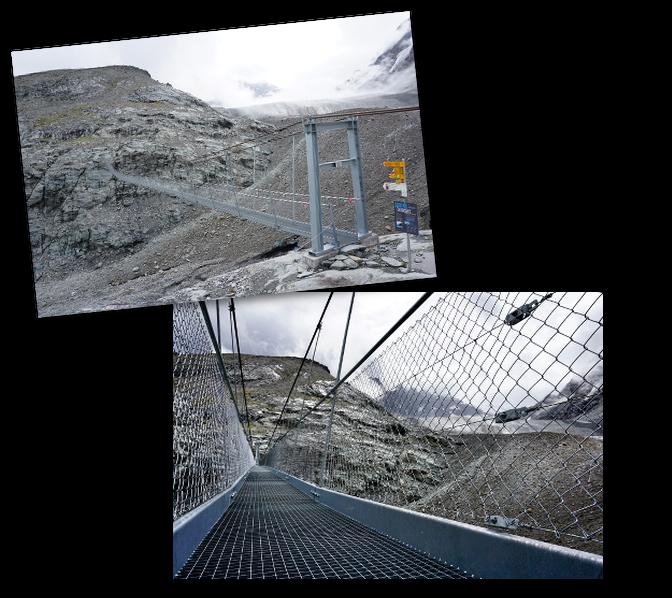footbridge on glacier