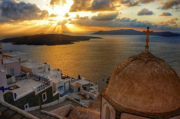 coucher de soleil à Fira, Santorin