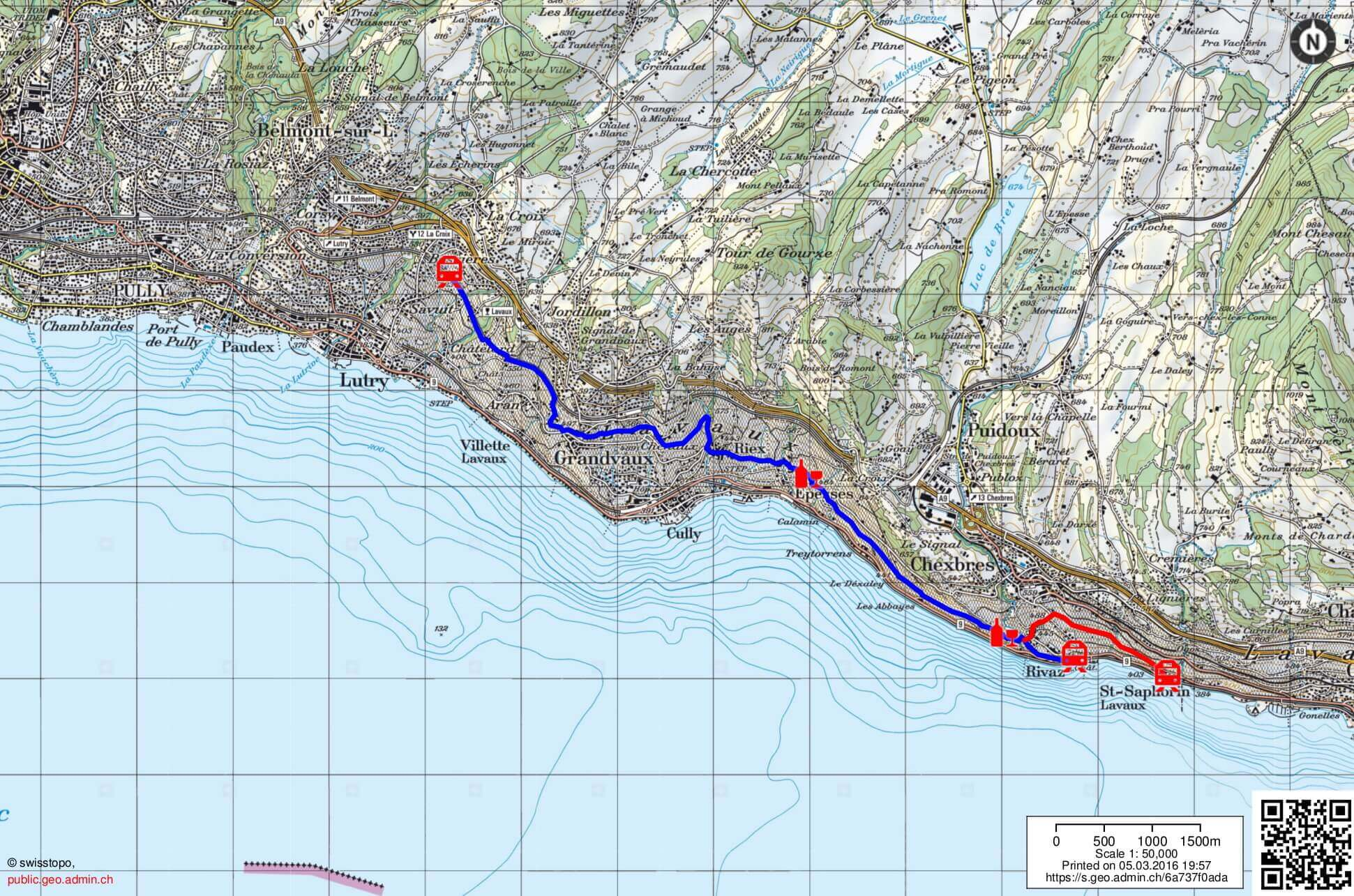 hike map lavaux