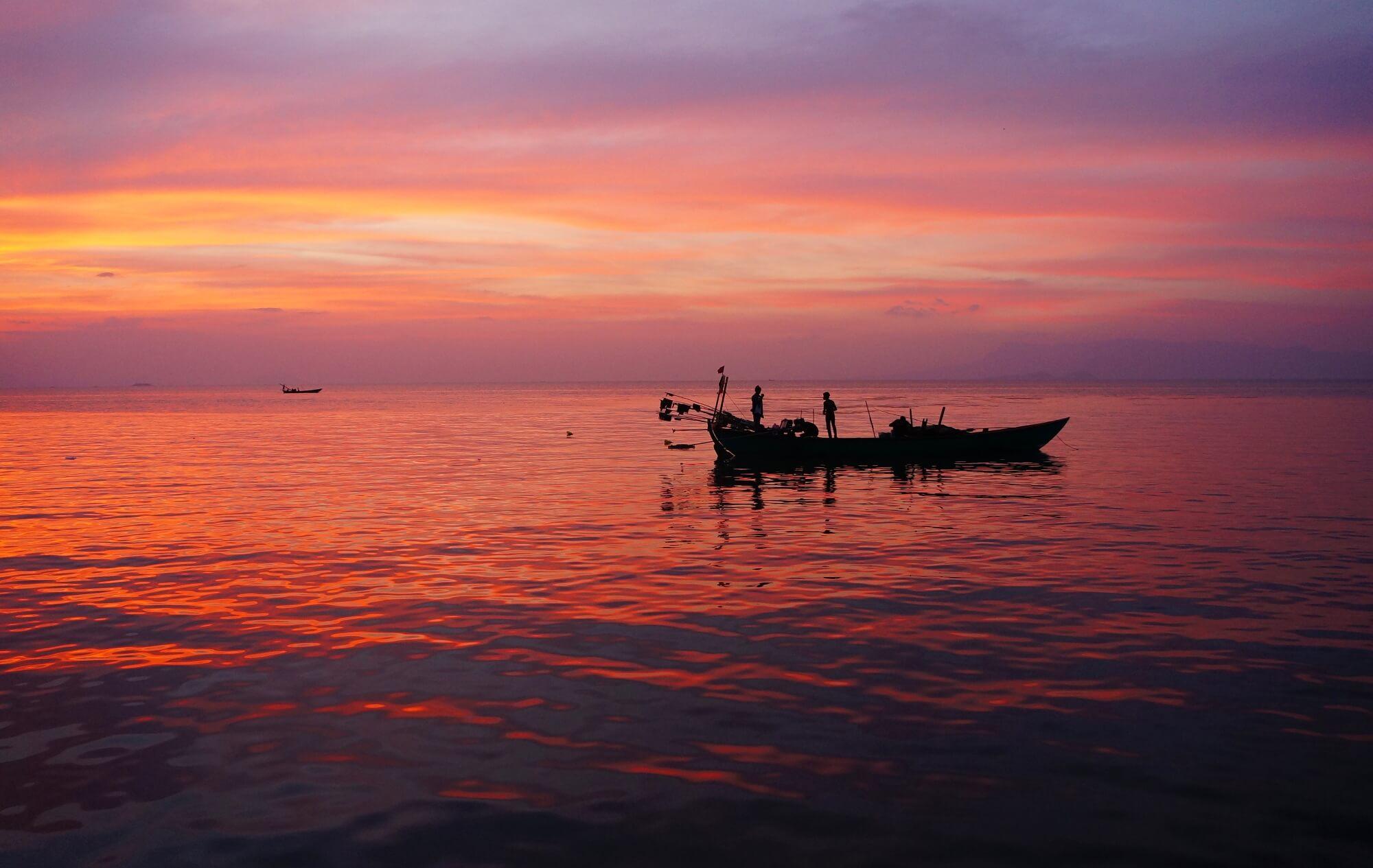 coucher de soleil rouge
