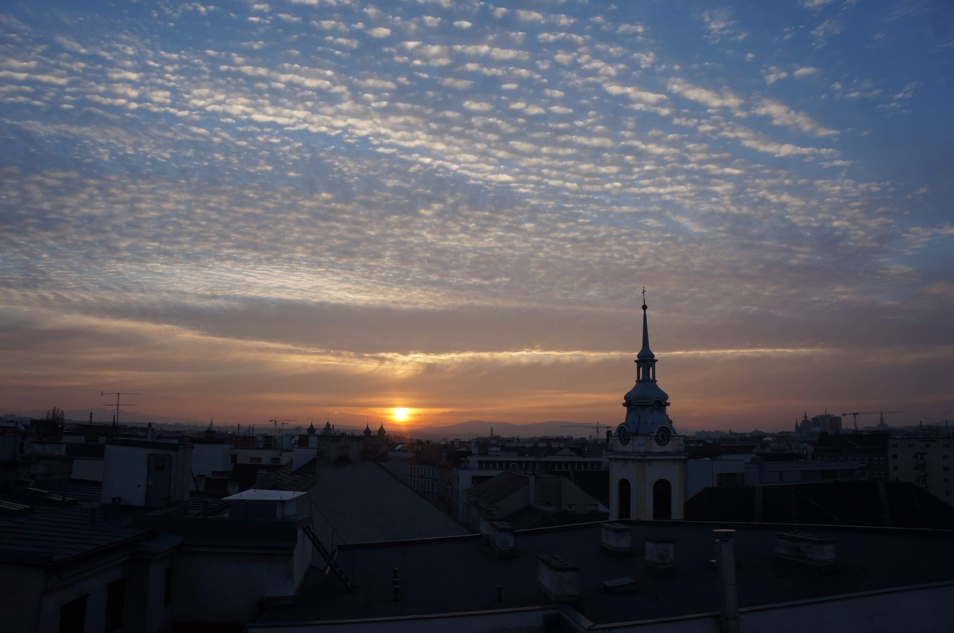 coucher de soleil, Vienne Autriche