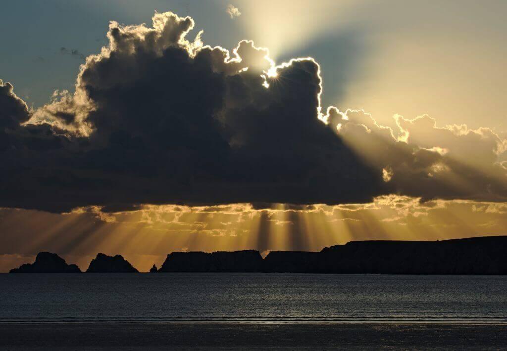 couché de soleil plage de Goulien