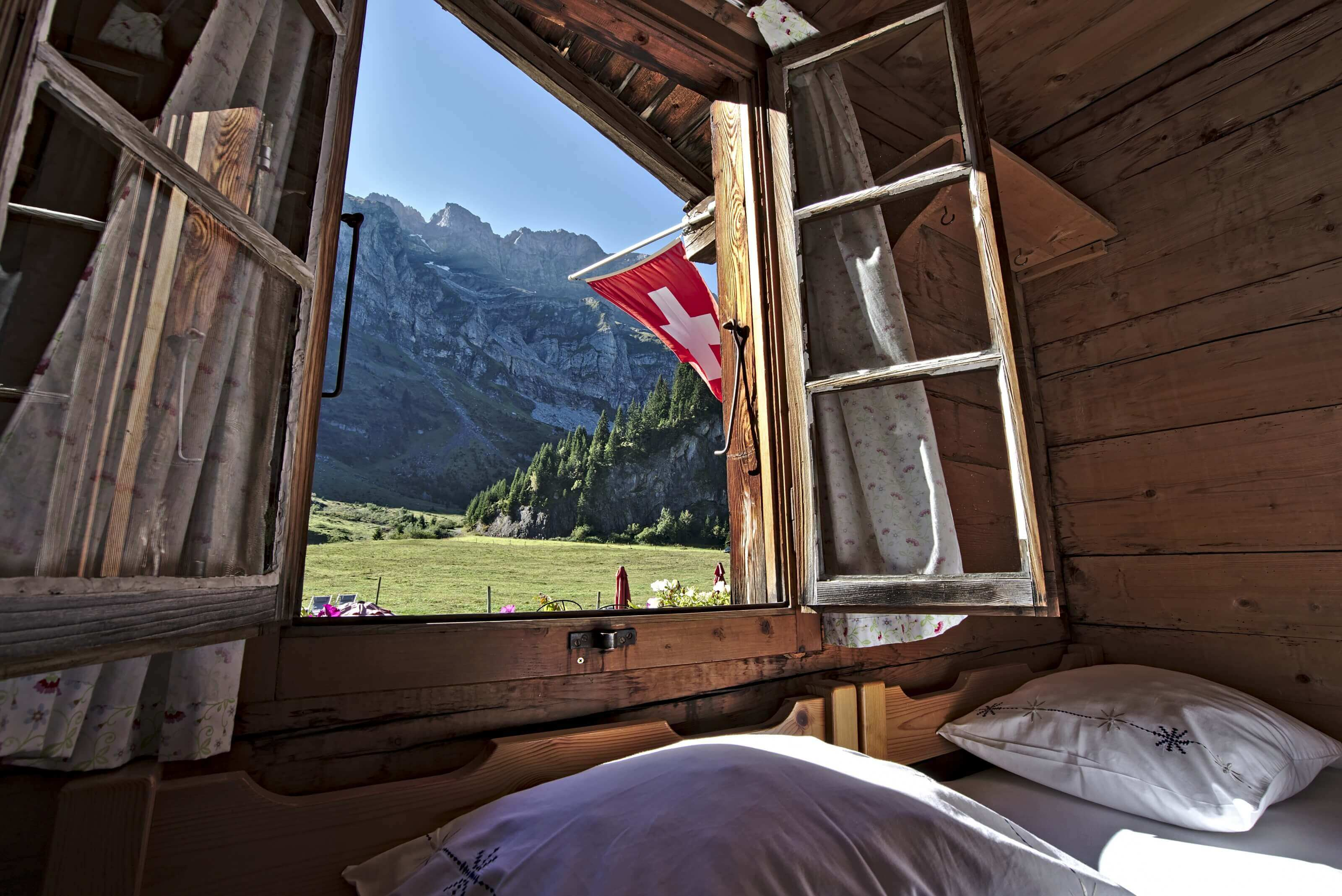 spend a night in an authentic swiss chalet