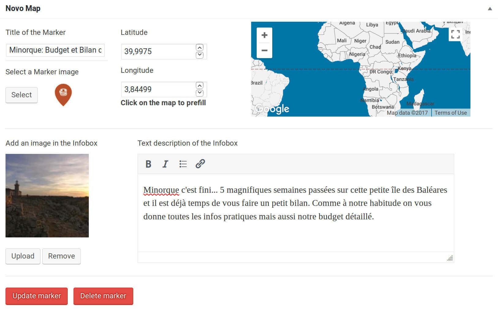 novo-map post admin menu