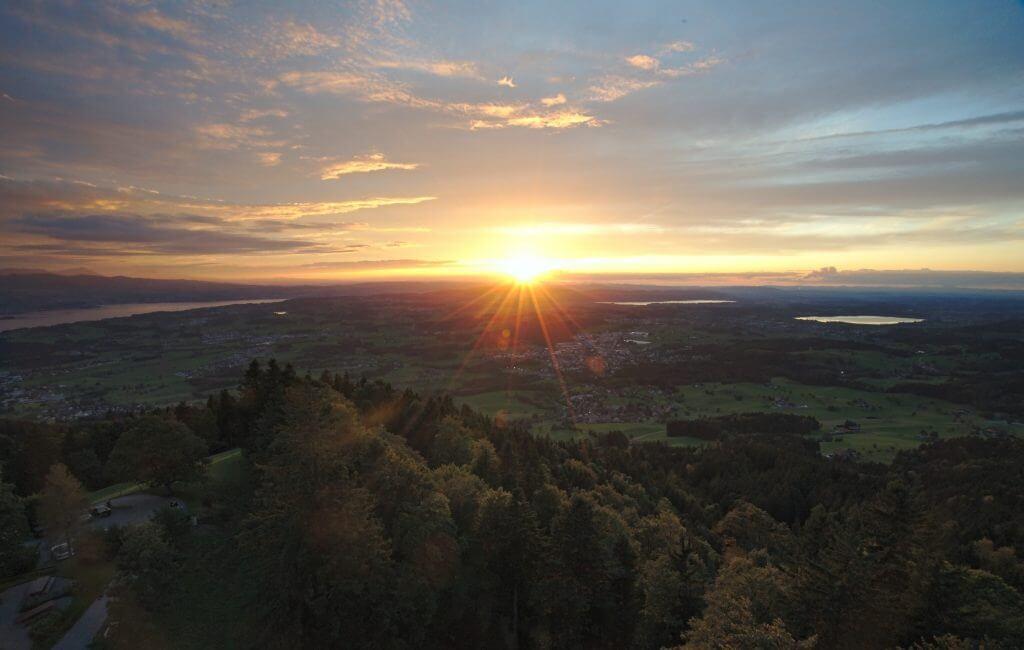 Coucher de soleil depuis le Bachtel, Zürich