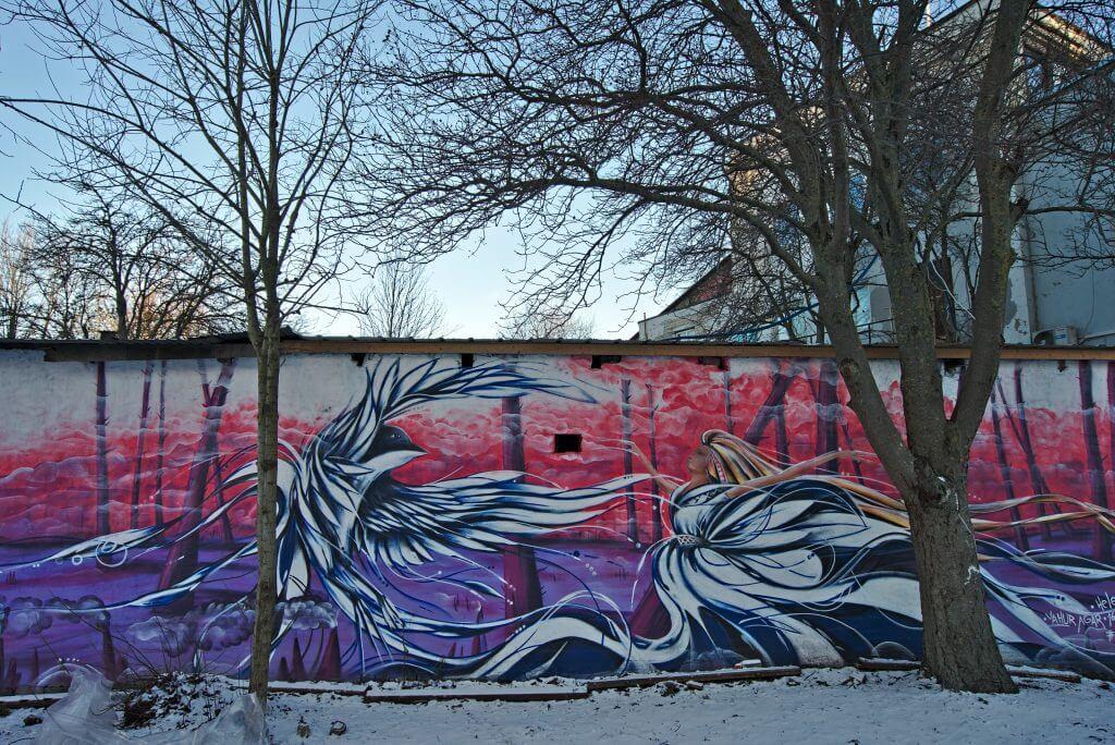 streetart rose oiseau