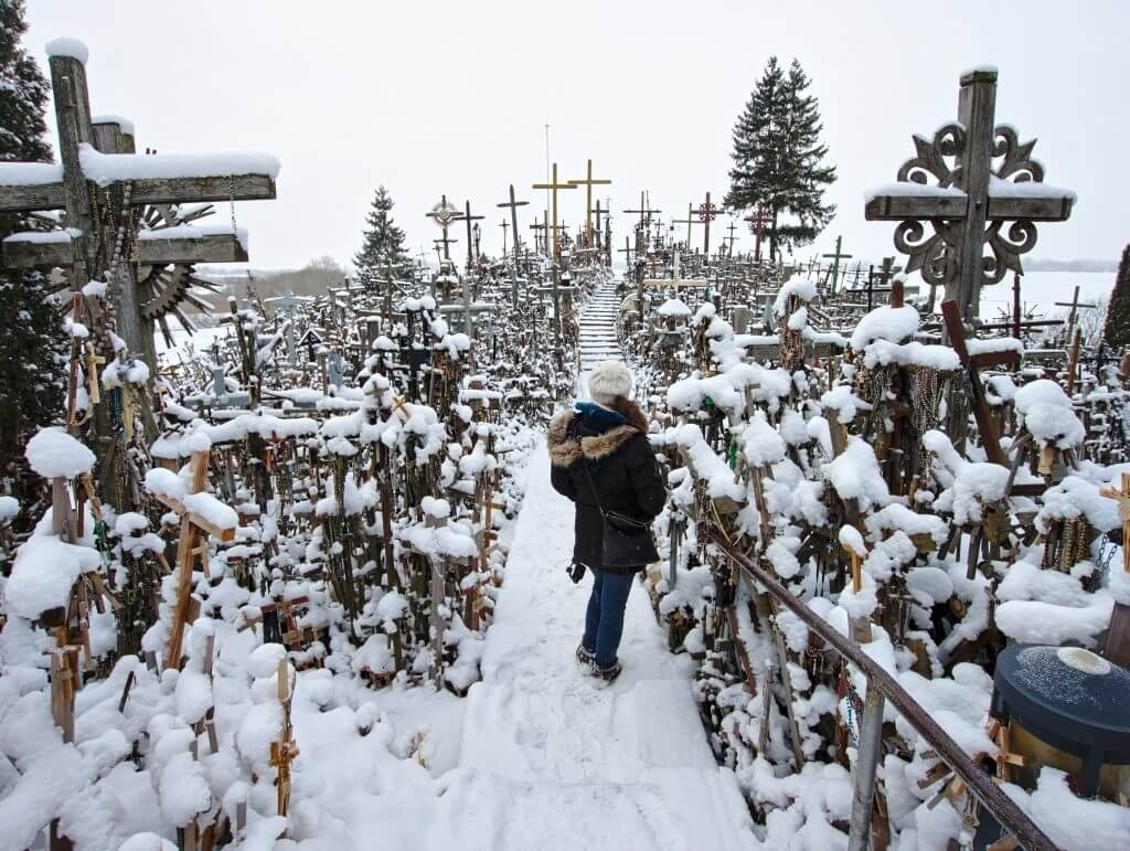 in the middle of the hill of crosses