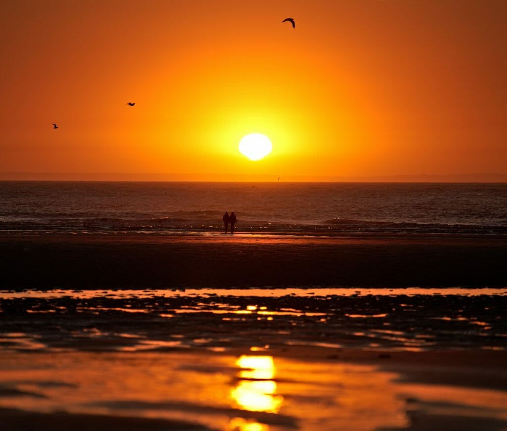 coucher de soleil côte de la manche