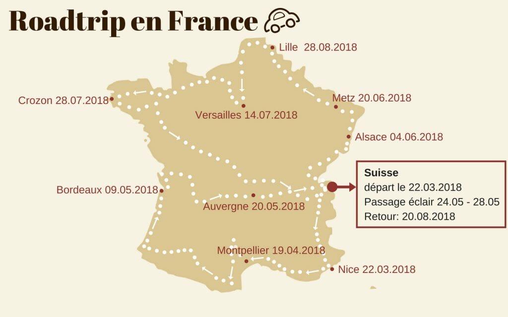itinéraire roadtrip en France