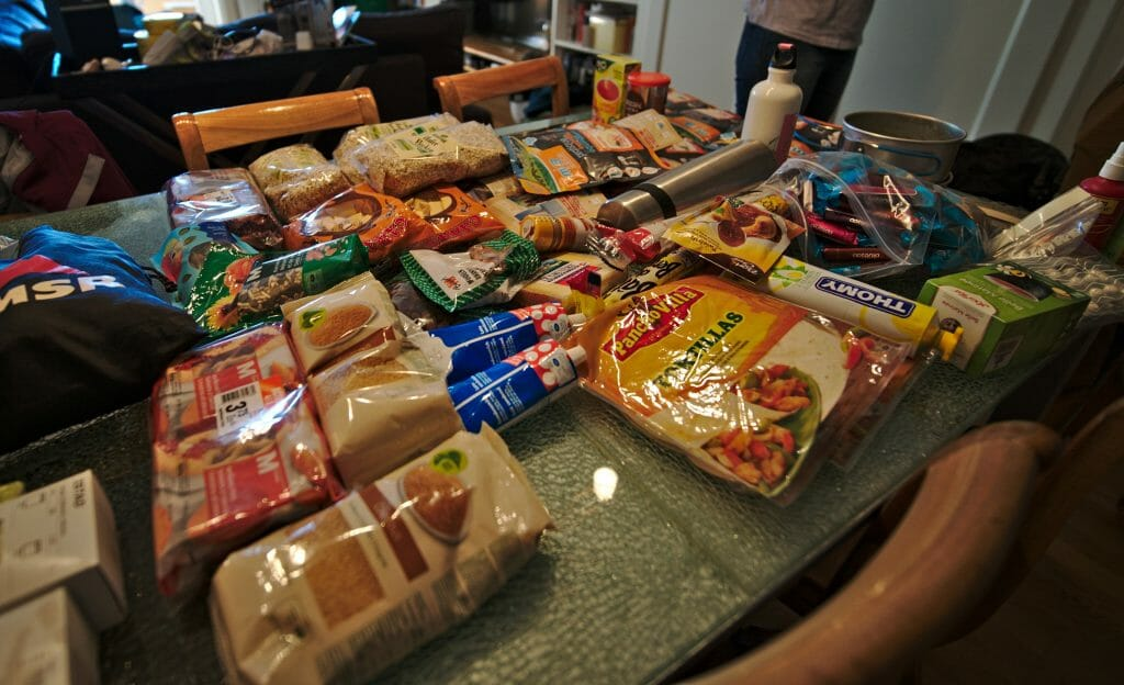 food we bought before the trek