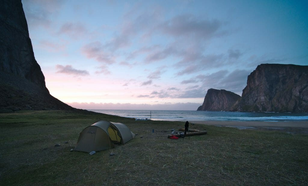 camping on a beach in the Lofoten