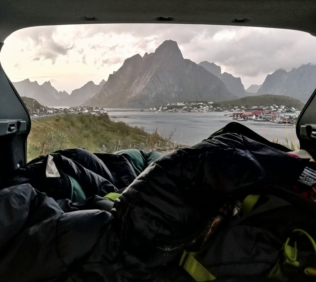 the view from the car lofoten