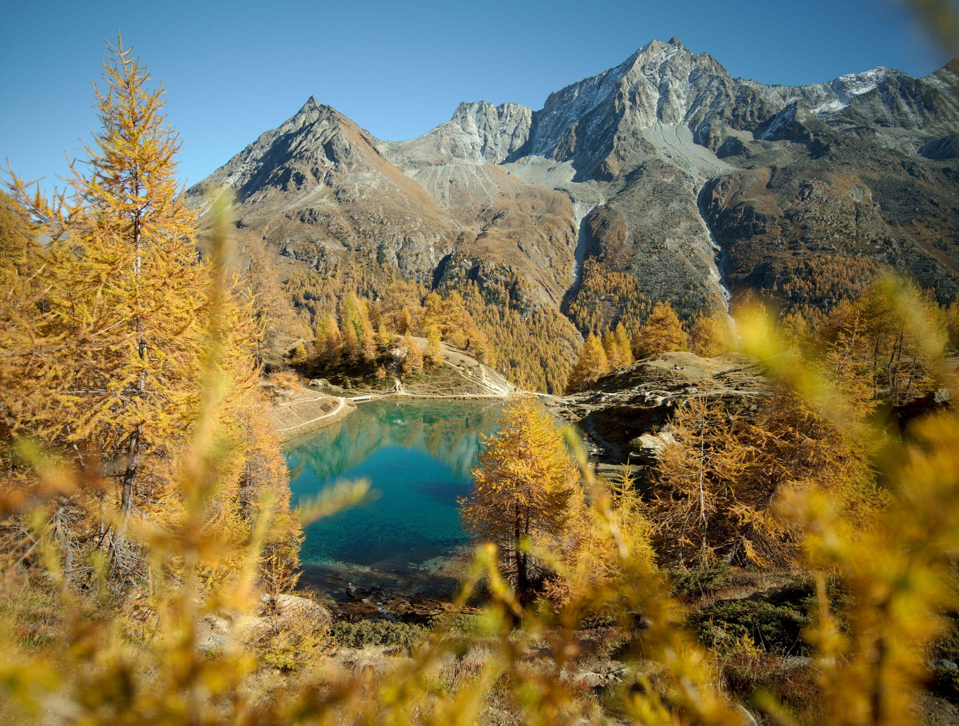 blue lake in automn