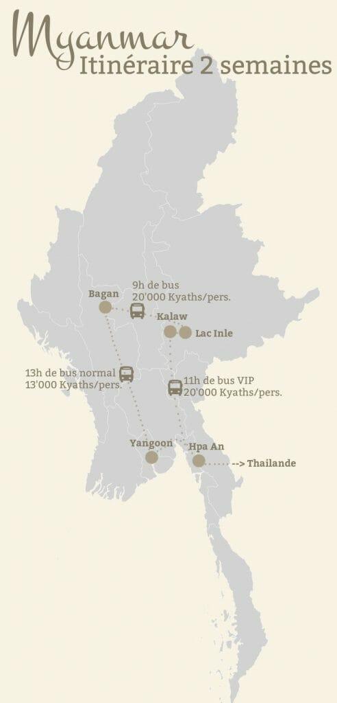 itinéraire myanmar