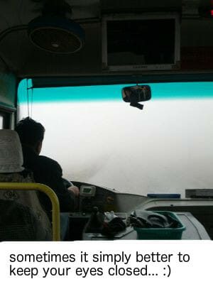 fog, bus ride