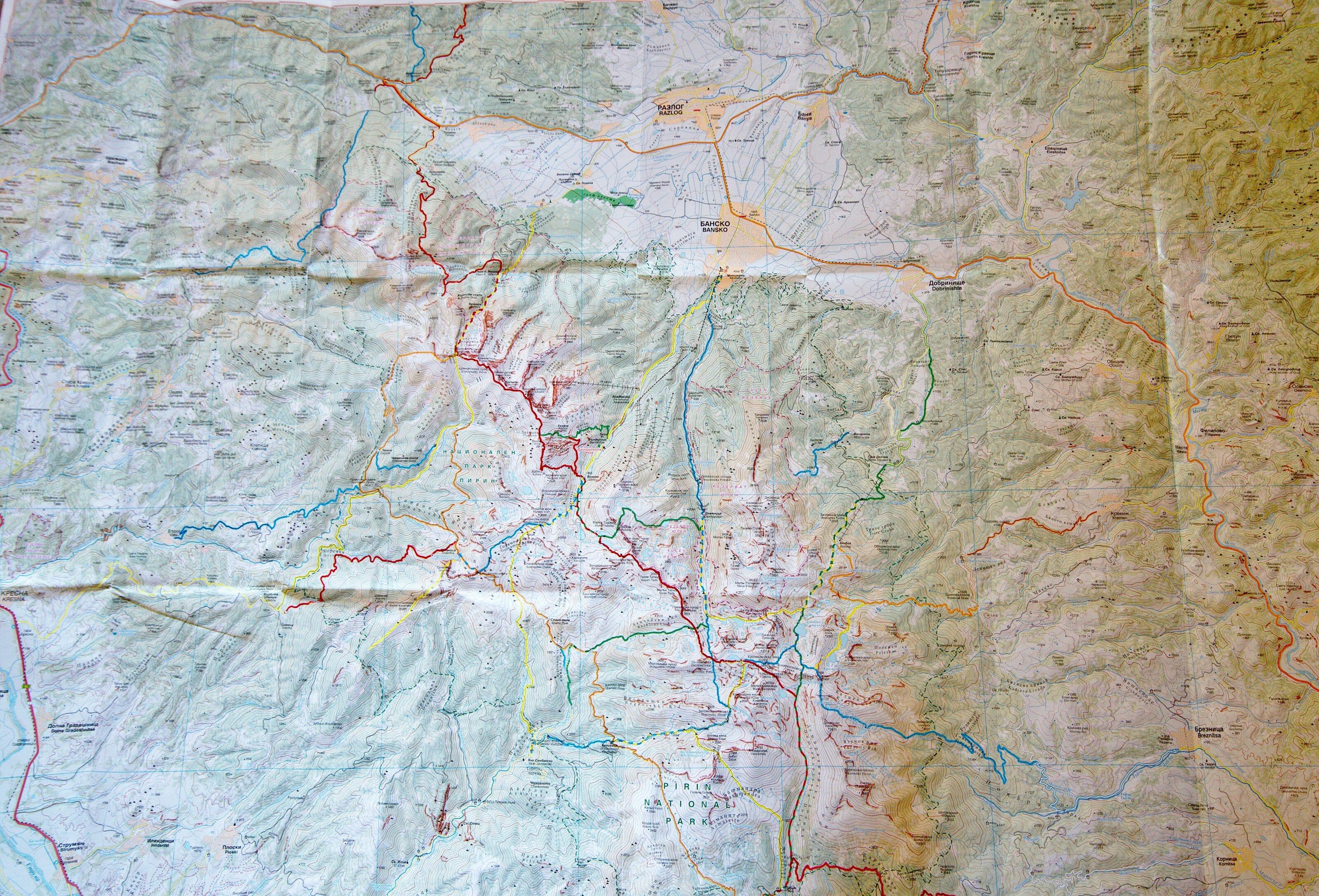 map du parc nationale de Pirin 1