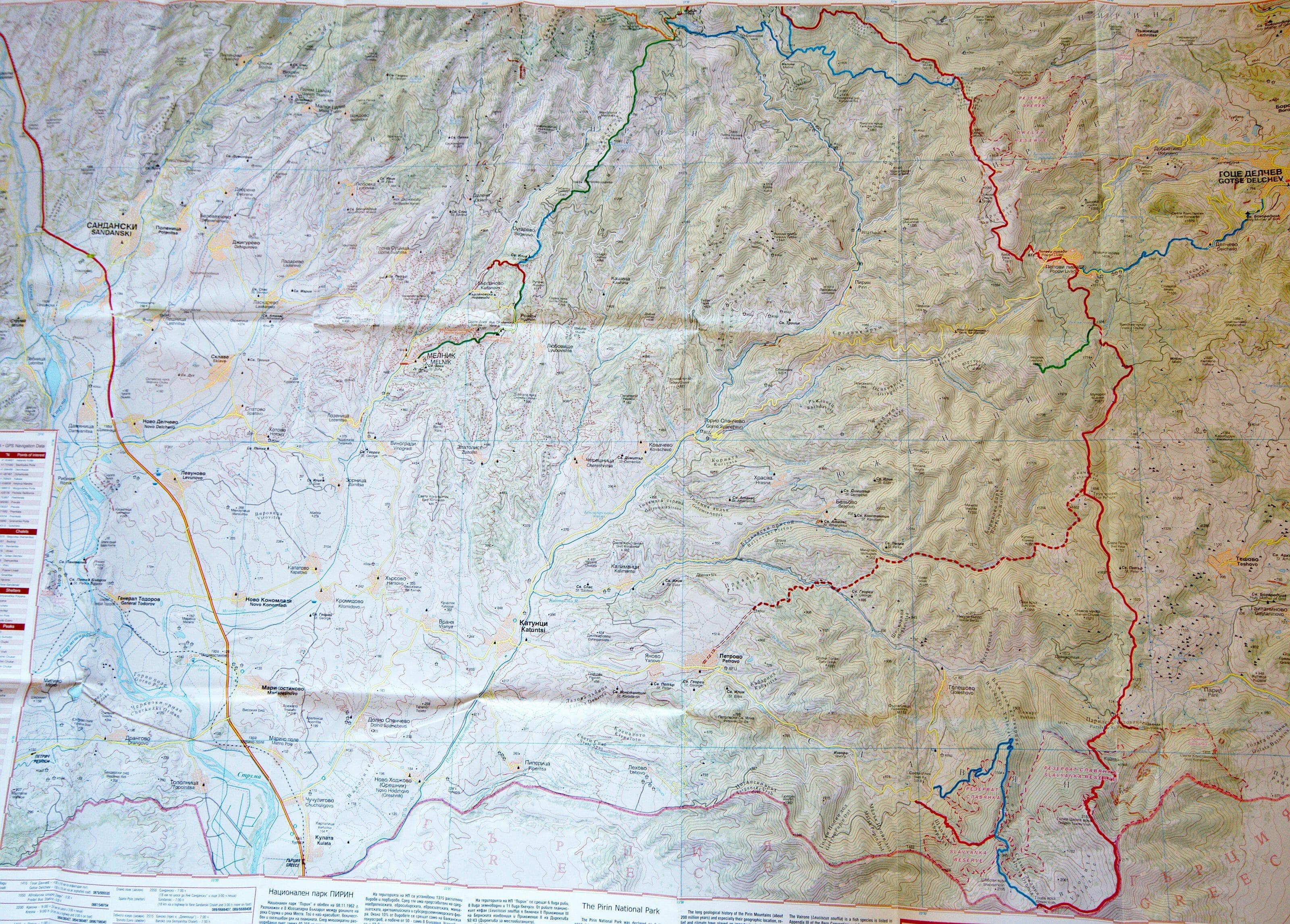 map du parc nationale de Pirin 2
