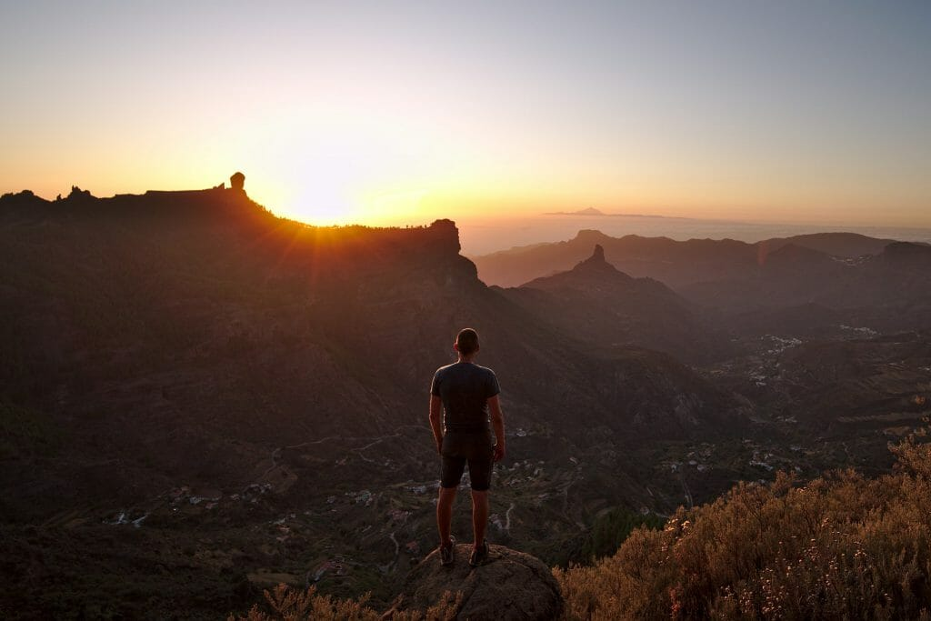 roque nublo coucher de soleil