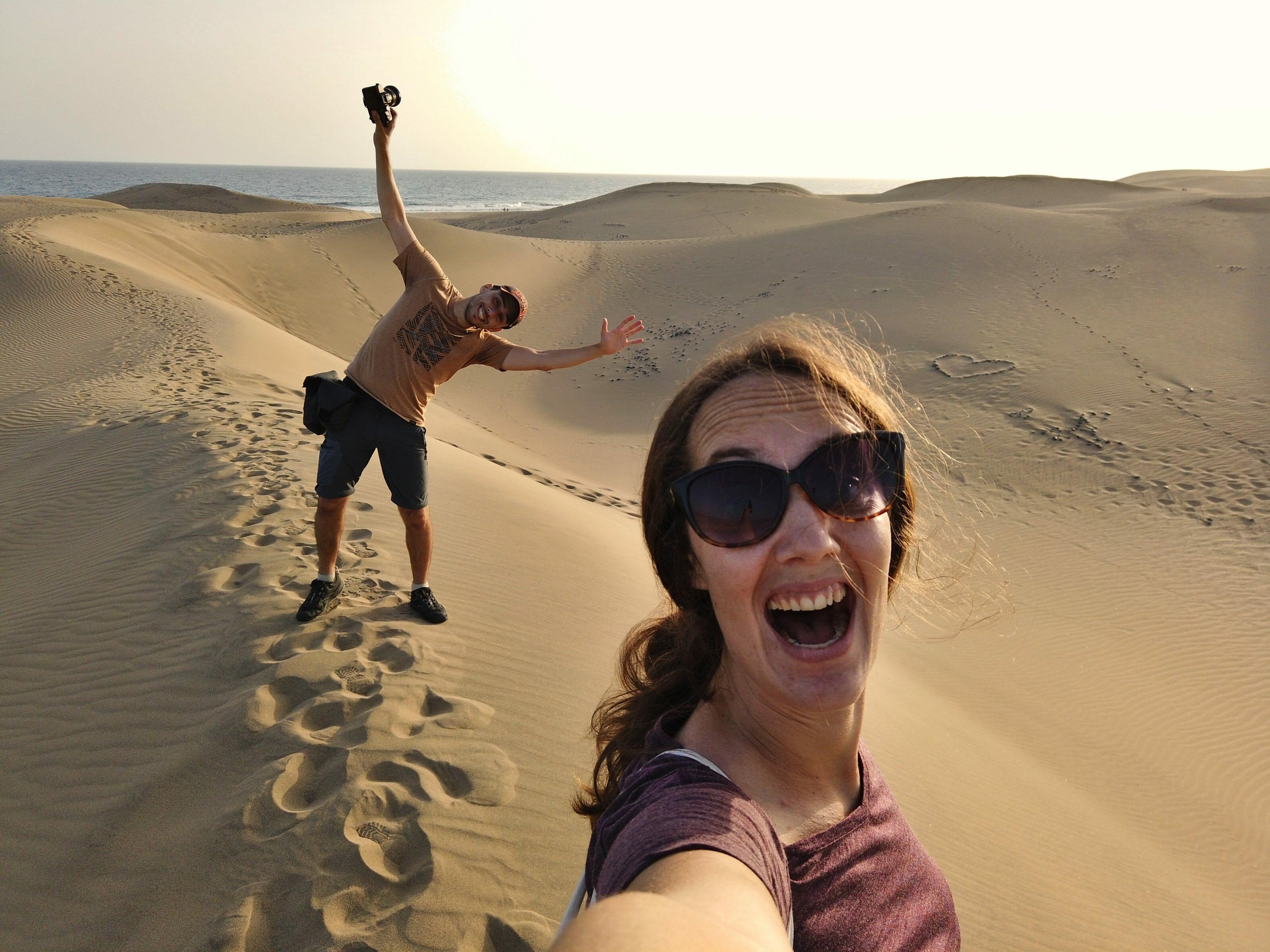 selfie dans les dunes