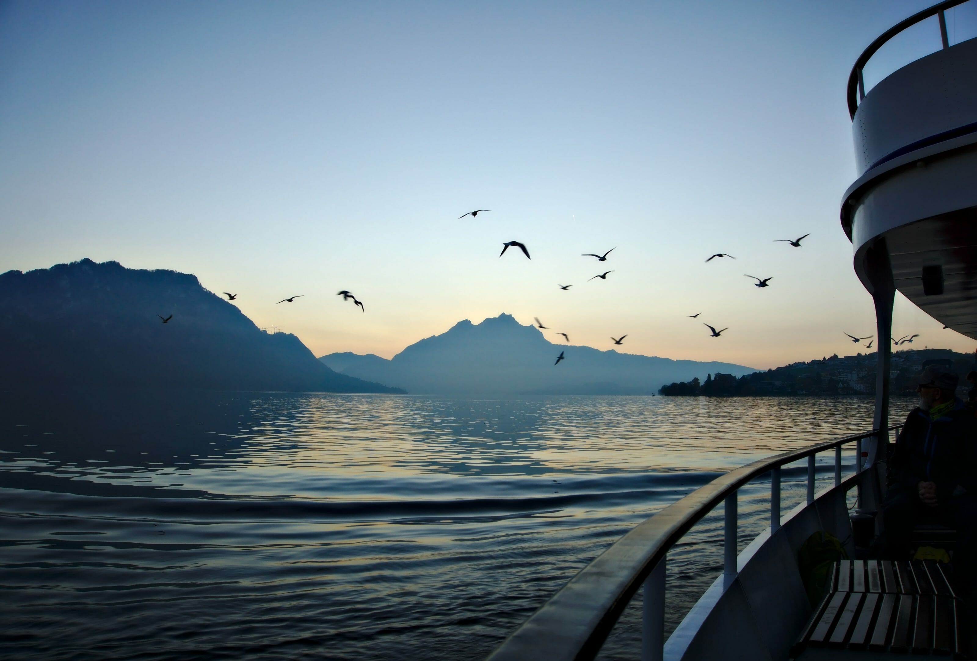sunset time on the lake lucerne