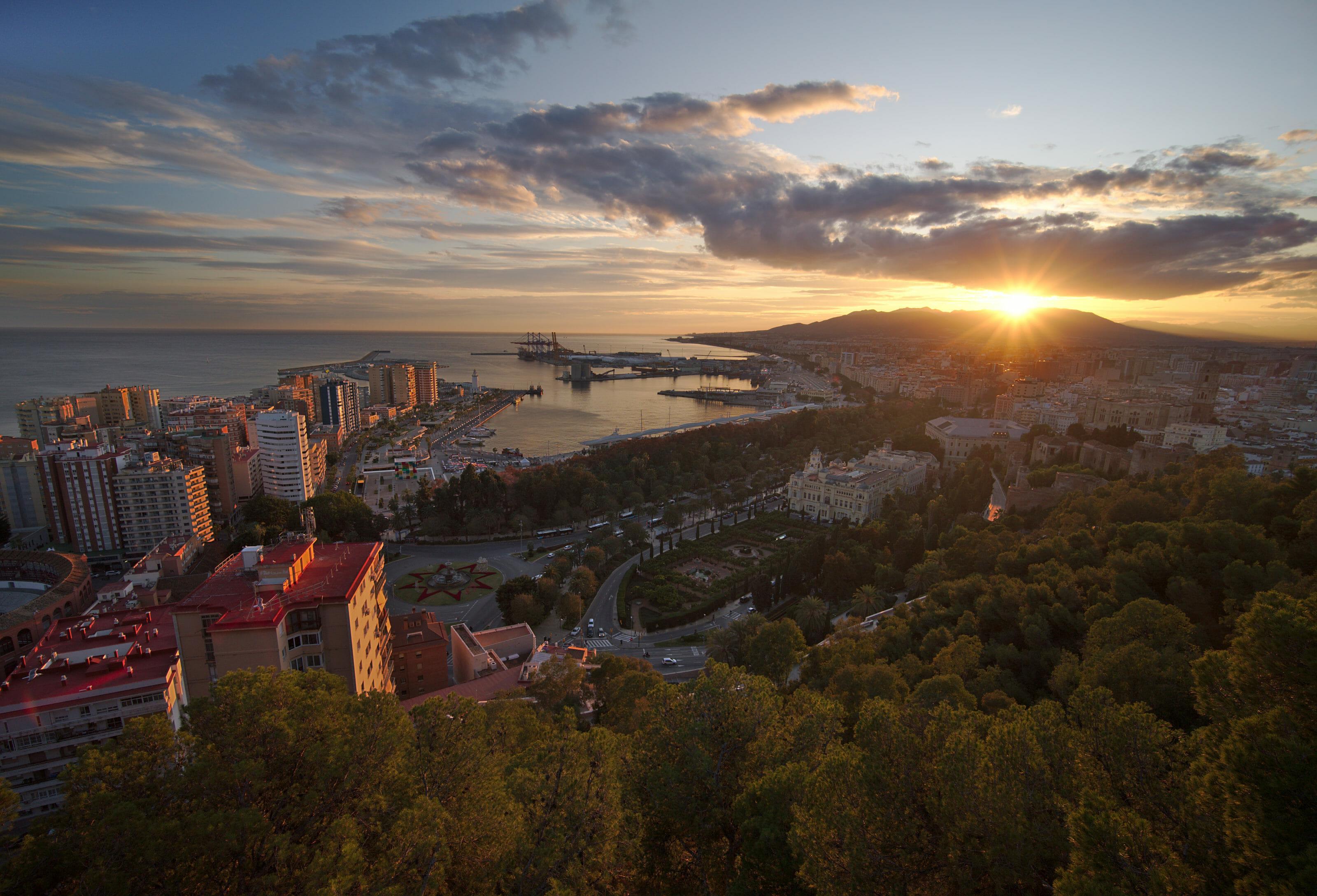 coucher de soleil du mirador Gibralfaro
