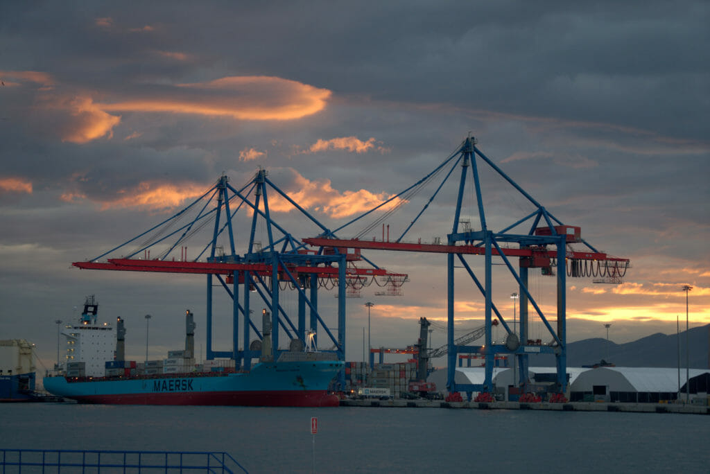 coucher de soleil port de Malaga