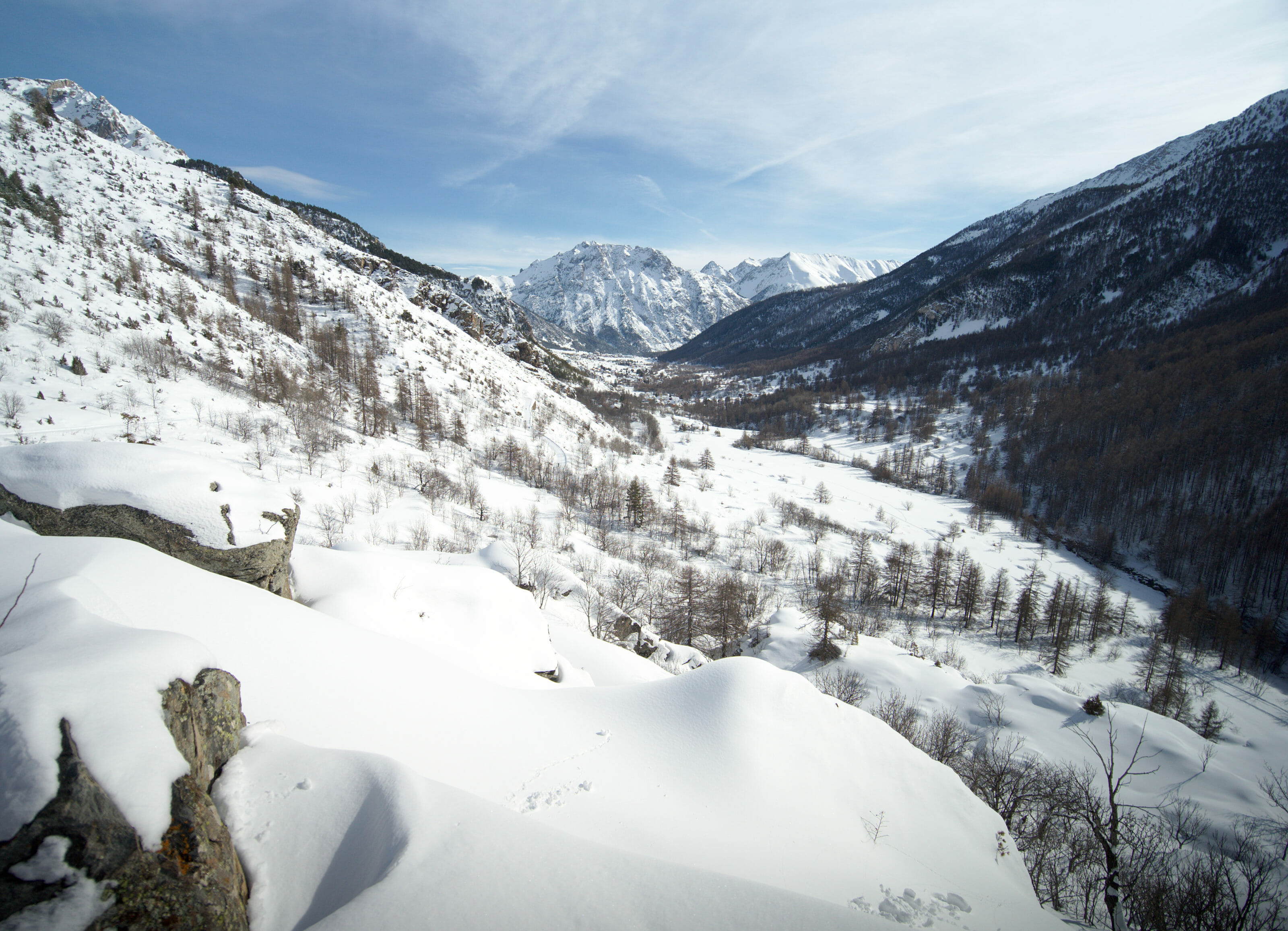 vallée de la clarée en hiver