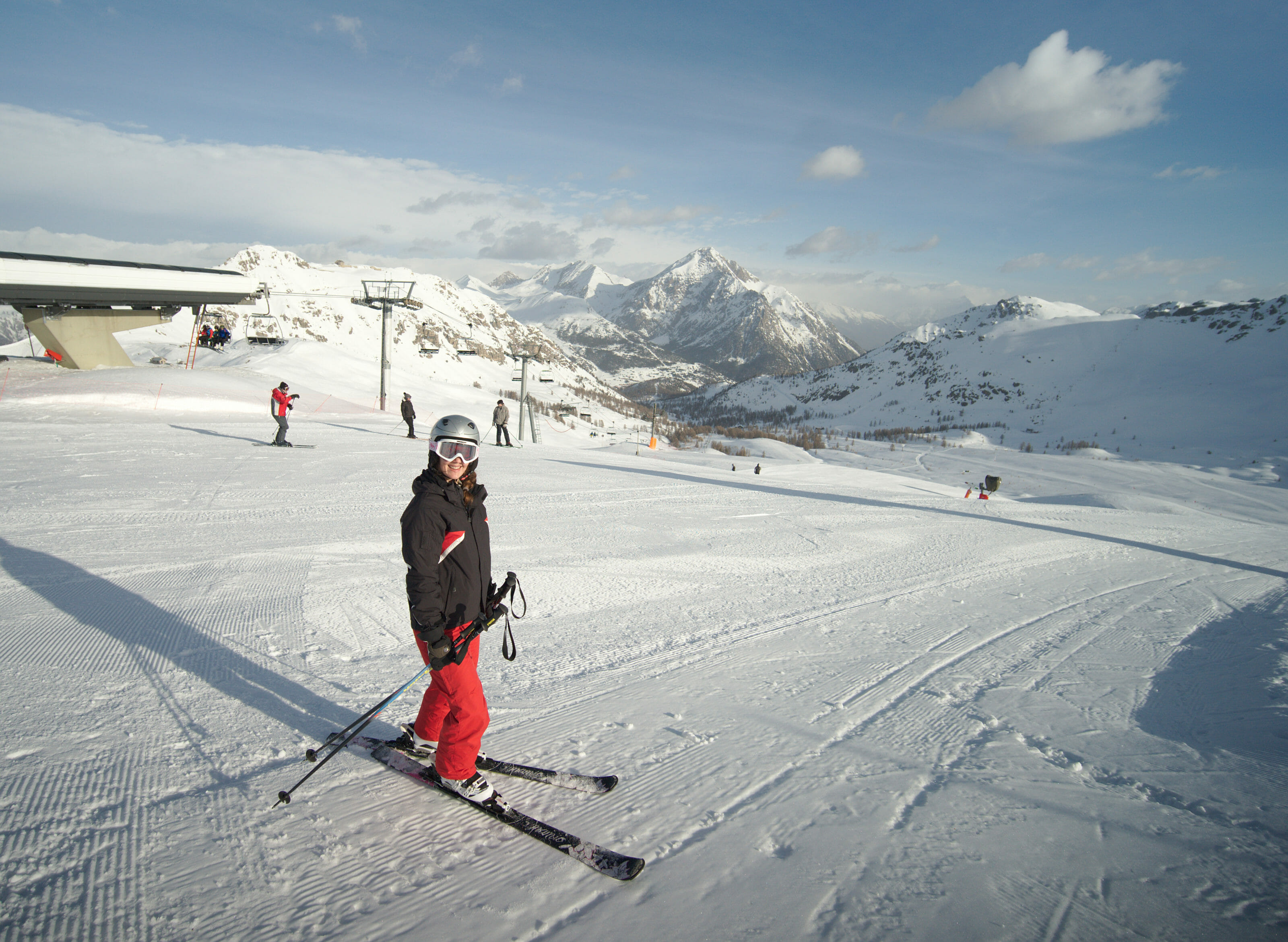 on the skis