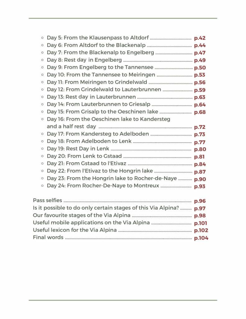 via alpina table of contents 2