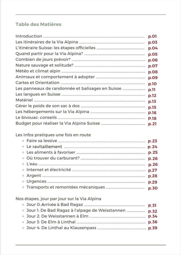 table des matières ebook