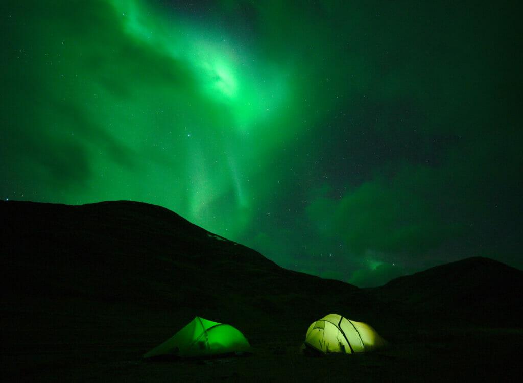 bivouac aurores boréales