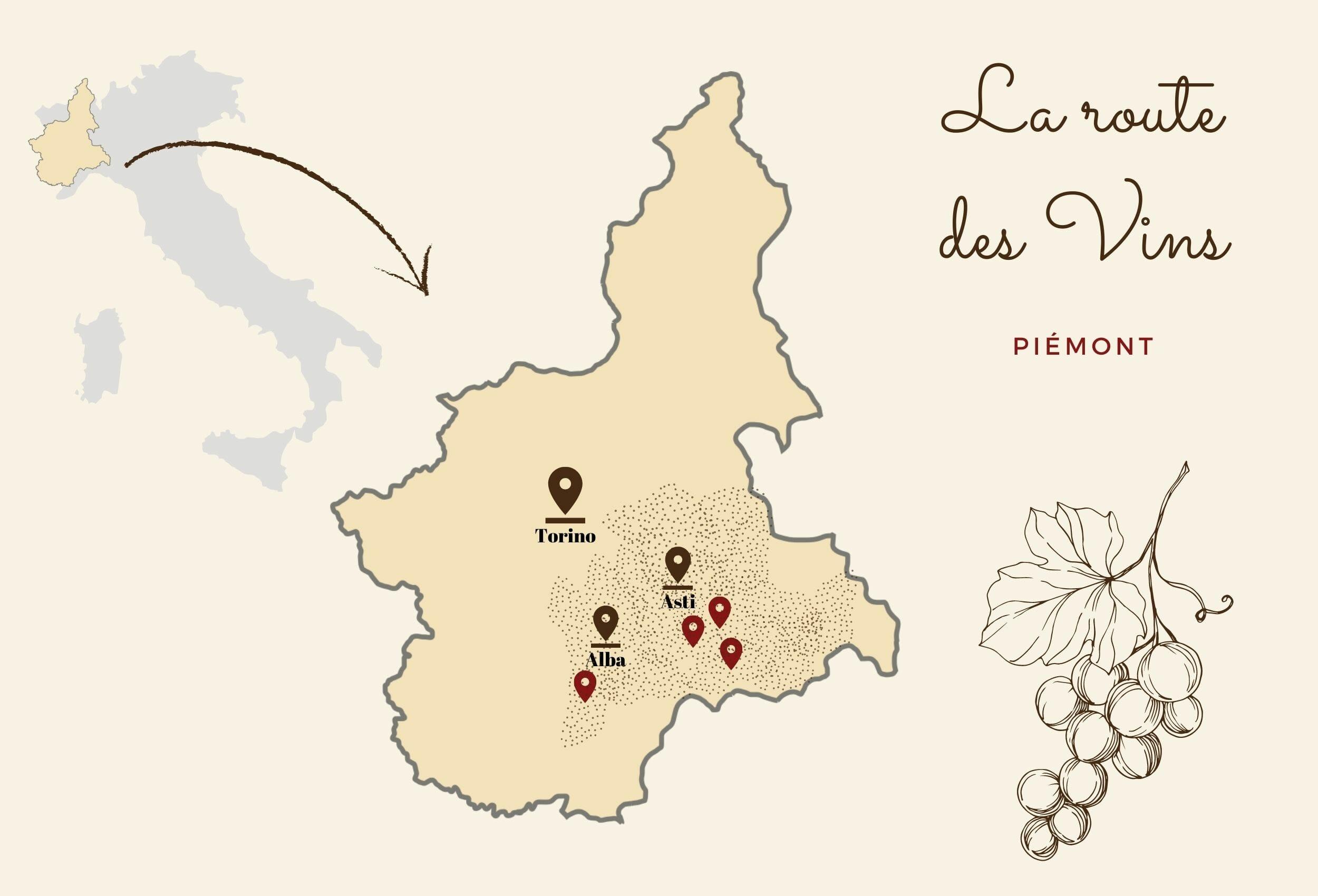 route des vins du Piémont