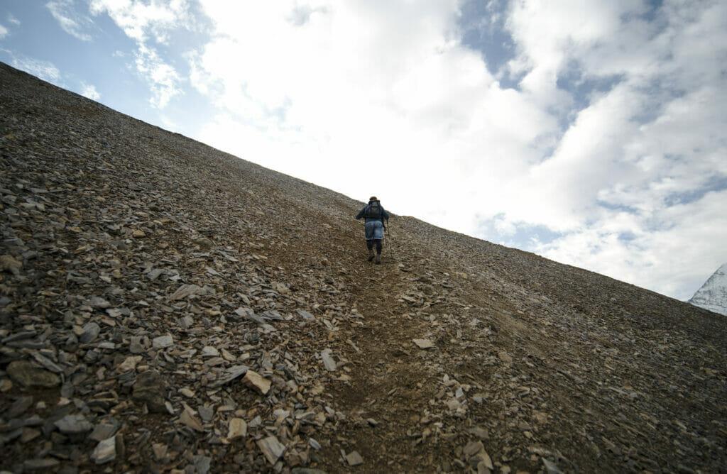 pierrier sur la montée au Barrhorn