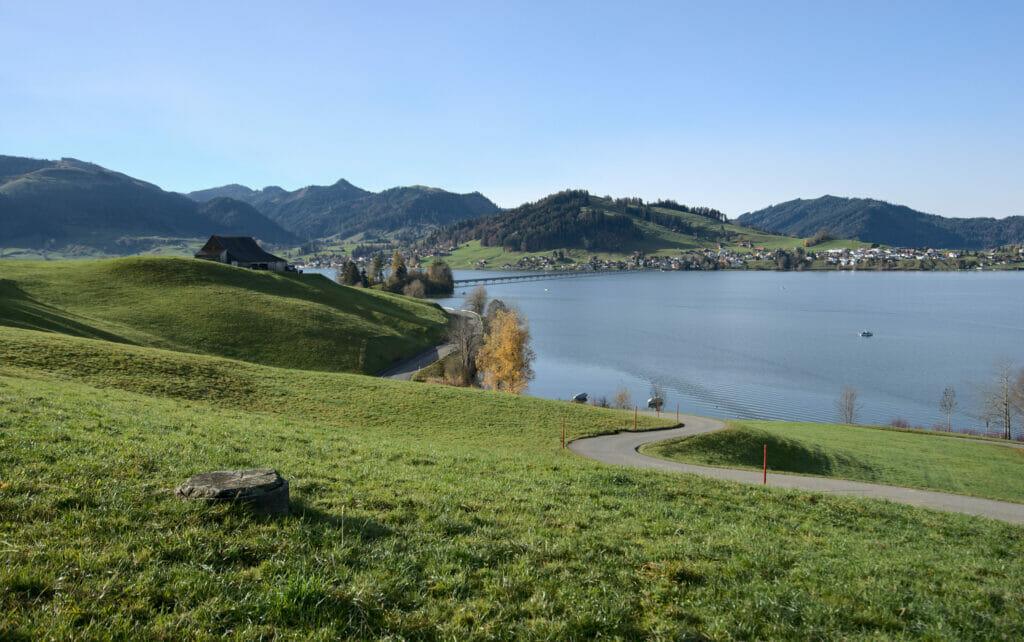 vue sur le lac de sihl