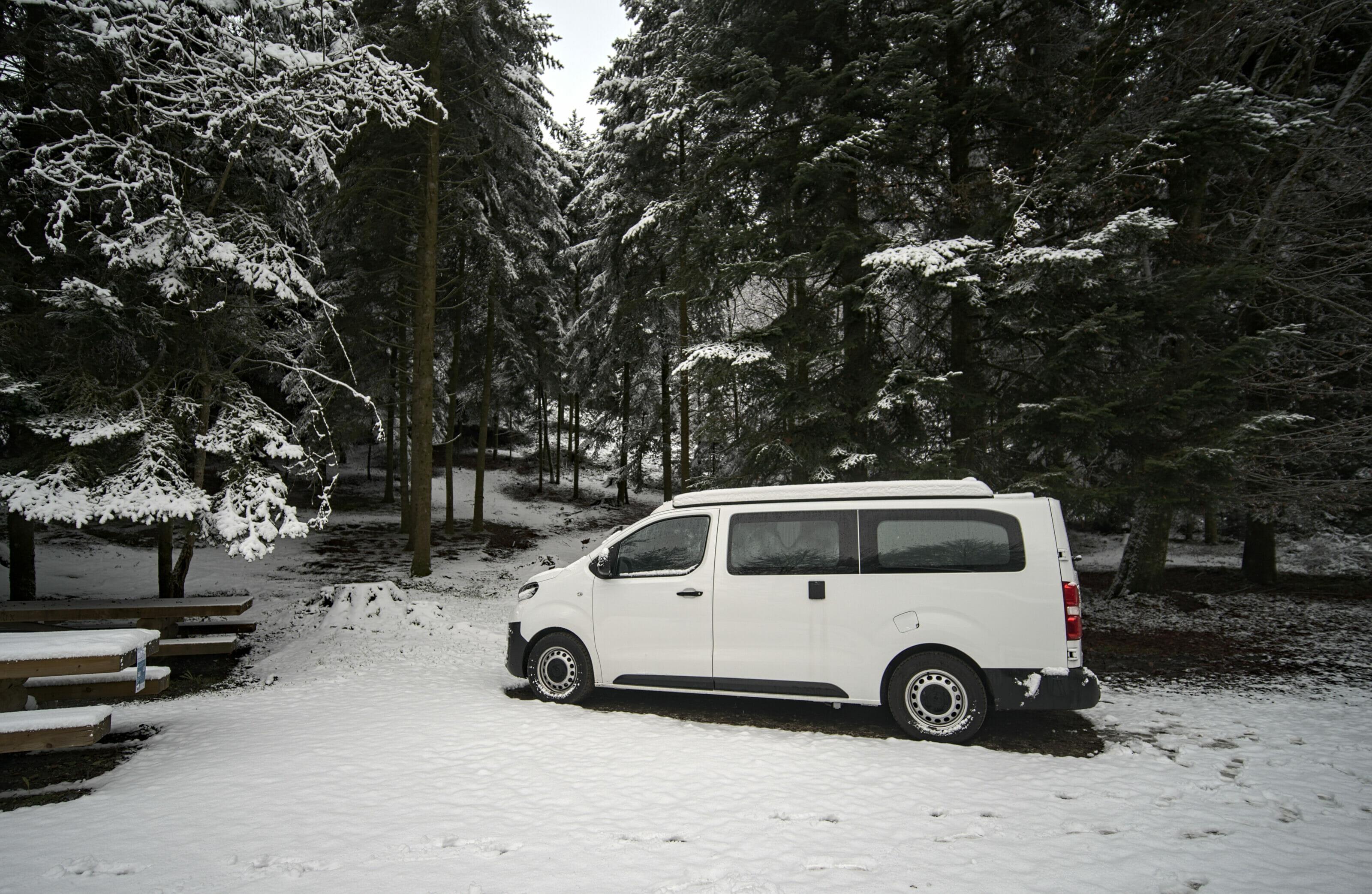 van dans la neige